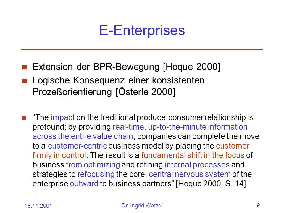 E-Enterprises Extension der BPR-Bewegung [Hoque 2000]